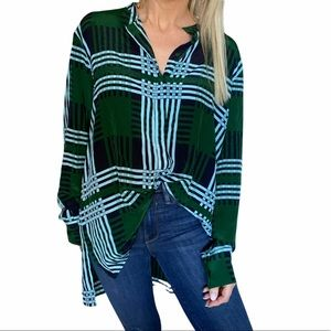 Diane Von Furstenberg Silk Plaid Top in Green Blue